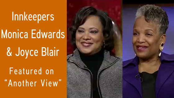 AAAii President and Morehead Manor Innkeeper Monica Edwards and innkeeper and AAAii member Joyce Blair of the Magnolia House Inn discuss the advantages of staying at an African American-owned bed and breakfast inn on WHRO-TV's Another View program.